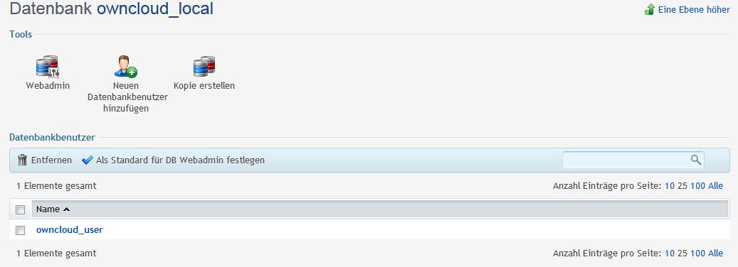 Plesk Datenbankbenutzer für die ownCloud Datenbank