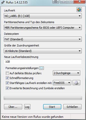 Programm Rufus mit Einstellungen für einen bootfähigen USB Stick