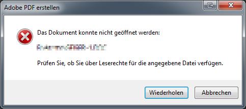 Acrobat Fehlermeldung beim PDF Erstellen aus doc Datei